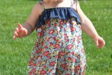 12 colorful floral print romper with a polka dot navy ruffle and straps