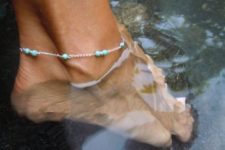 12 cute silver and turquoise bead anklet