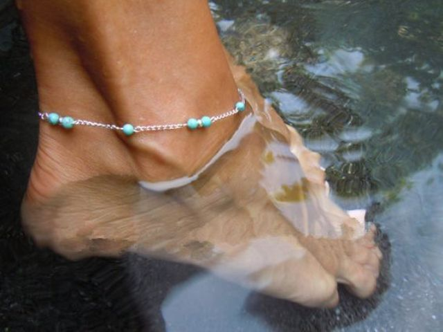 cute silver and turquoise bead anklet