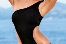 12 one piece one shoulder black swimsuit with side cutouts