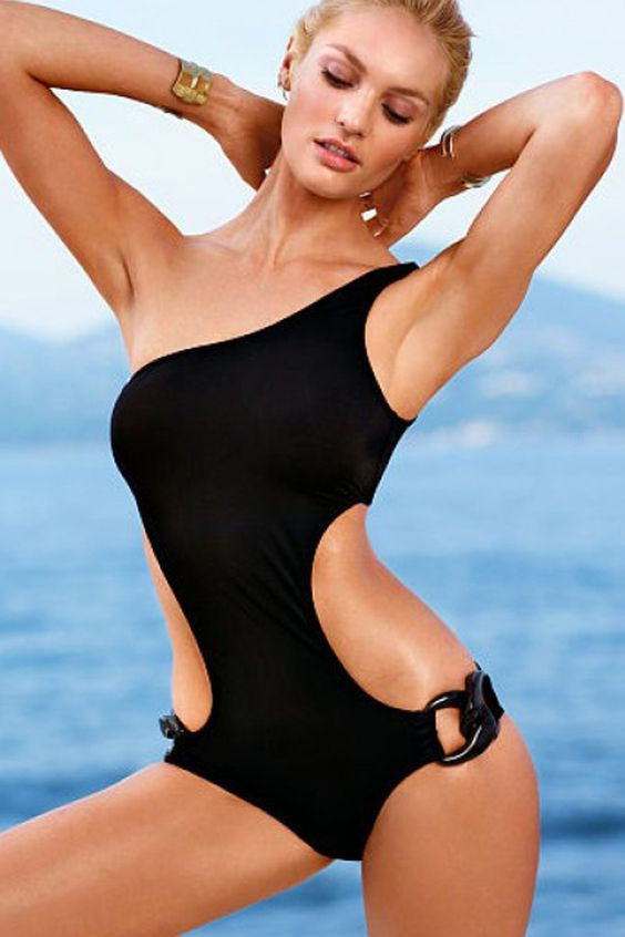 one piece one shoulder black swimsuit with side cutouts