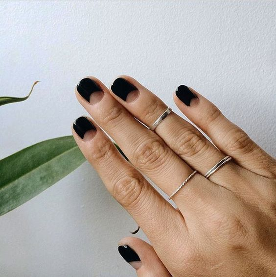 Picture Of black half moon nails for a minimal modern look