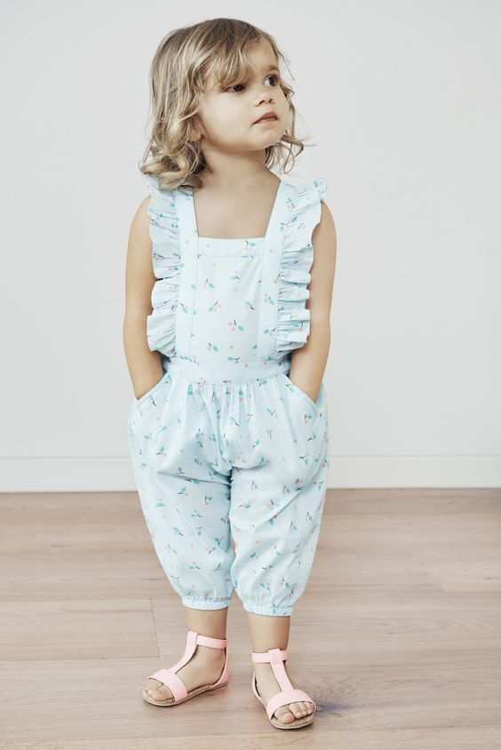 cutest pastel blue printed romper with ruffles and pockets
