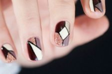 13 mauve, cream, burgundy, glitter and gold geo nails, each nail is different