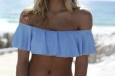 13 powder blue off the shoulder bikini