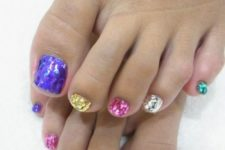 13 sequin toe nails, each of a different color to sparkle