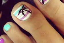 13 striped pedi in mint and purple and with palms
