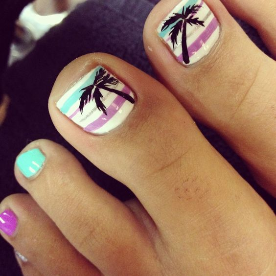 striped pedi in mint and purple and with palms