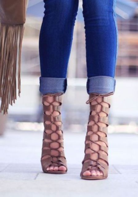 tan leather lace up heels for a stylish statement
