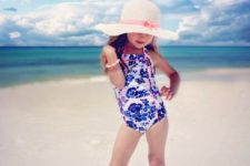 14 bold blue printed thick strap swimsuit with pink detailing