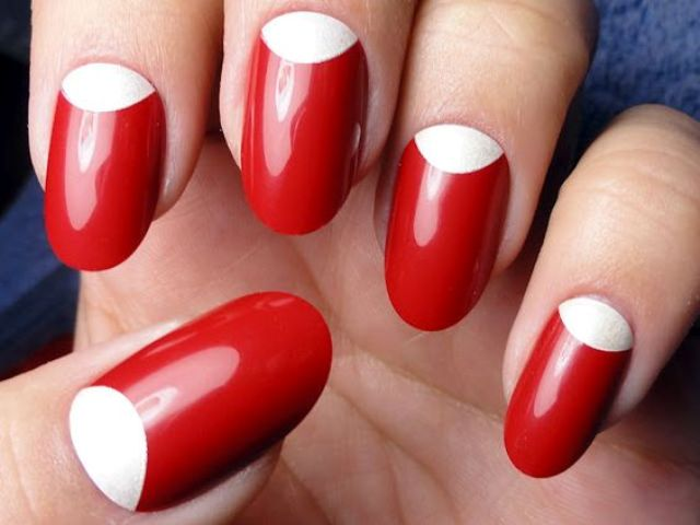classic red manicure with white space