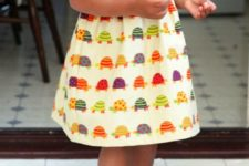 14 colorful turtle printed dress with spaghett straps for the little ones
