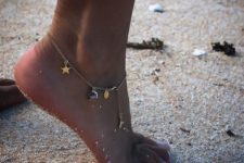 14 delicate chain anklet with various pendants