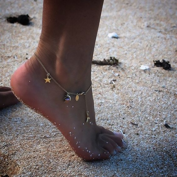 delicate chain anklet with various pendants