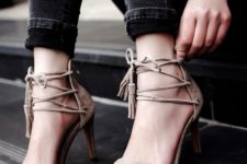 14 nude suede lace up tassel heeled sandals