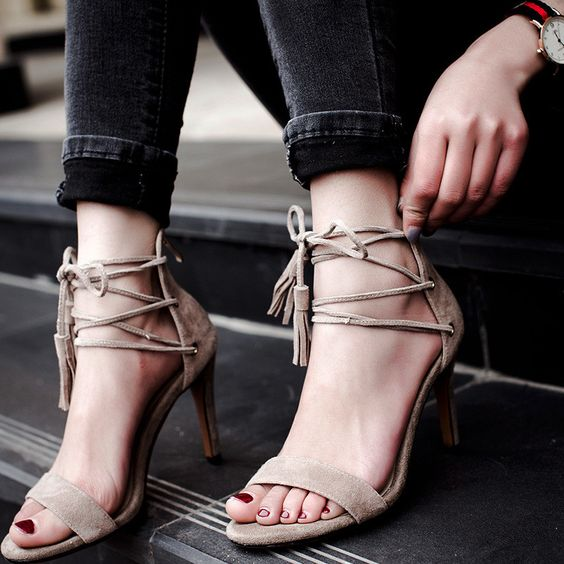 nude suede lace up tassel heeled sandals