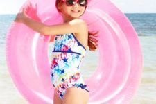 15 colorful stardust swimsuit with blue bows