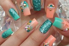 15 coral and turquoise nails with glitter, rhinestones and beads