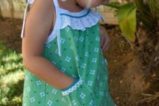 15 cute green printed dress with pockets and spaghetti straps