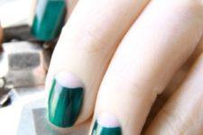 15 emerald half moon nails look very bold