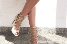 15 nude ankle lace up stiletto heel sandals