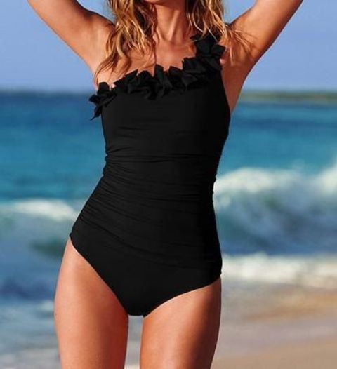 one shoulder one piece black swimsuit with floral decor