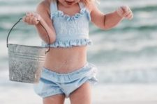 15 thin blue stripe bathing suit with a ruffled top and shorts