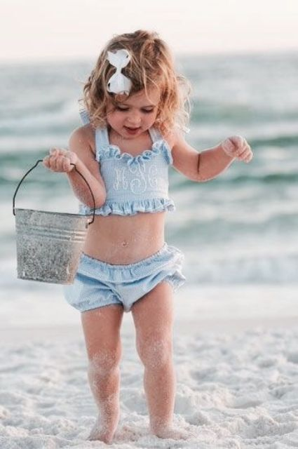 thin blue stripe bathing suit with a ruffled top and shorts