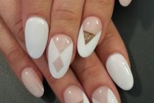 16 blush and white nails with geometric design with gold glitter accent