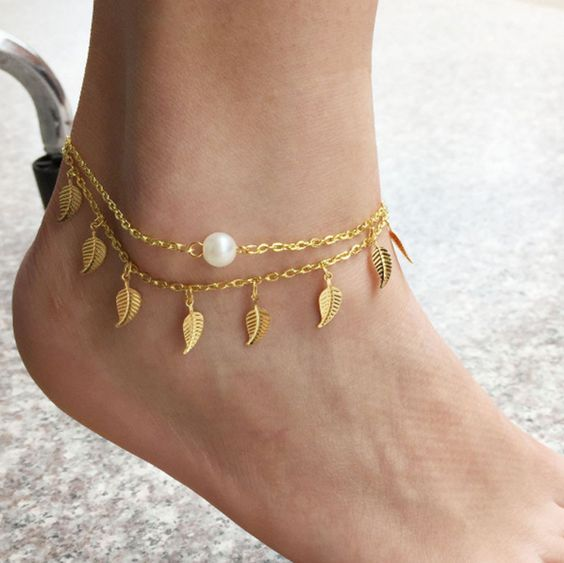 leaf and pearl gold chain anklets