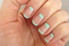 16 mint half moon nail art on negative space