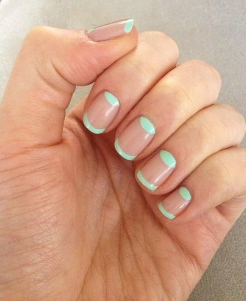 Picture Of Mint Half Moon Nail Art On Negative Space