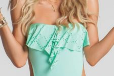 16 mint strapless swimsuit with side cutouts and a ruffled top