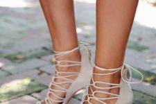 16 neutral lace up stiletto heeled sandals
