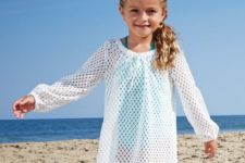 16 sheer white perforated cover up with long sleeves