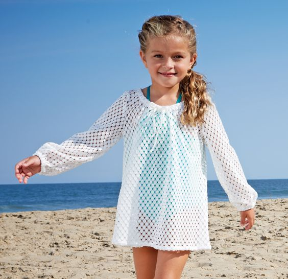 sheer white perforated cover up with long sleeves