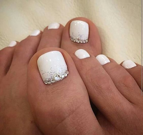 Picture Of White Nails With Silver Glitter And Beads On