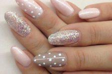 17 blush glitter nails with polka dots, pink glitter and grey accent polka dot nail