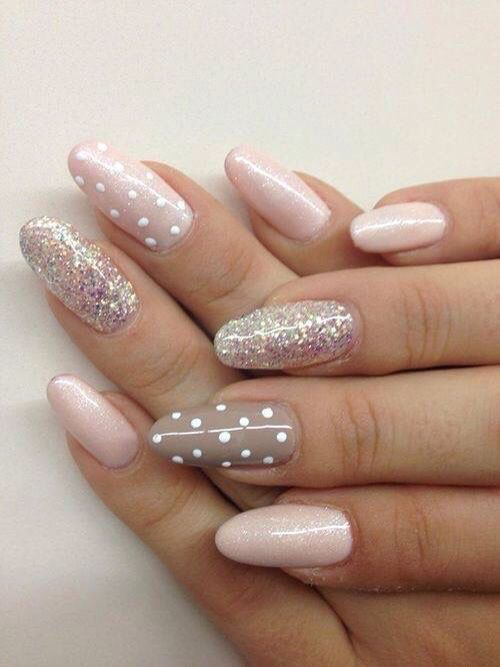 blush glitter nails with polka dots, pink glitter and grey accent polka dot nail
