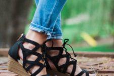 17 comfy black suede lace up wedges