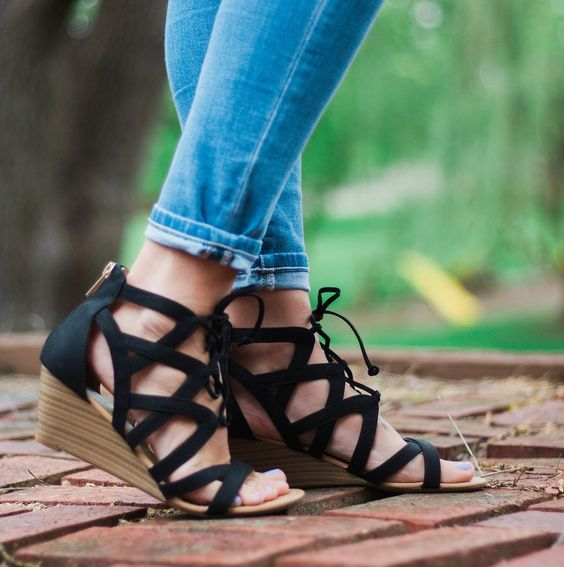 comfy black suede lace up wedges