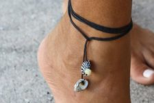 17 leather cord anklet with shell pendants