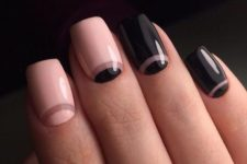 17 pink and black half moon nails mixed
