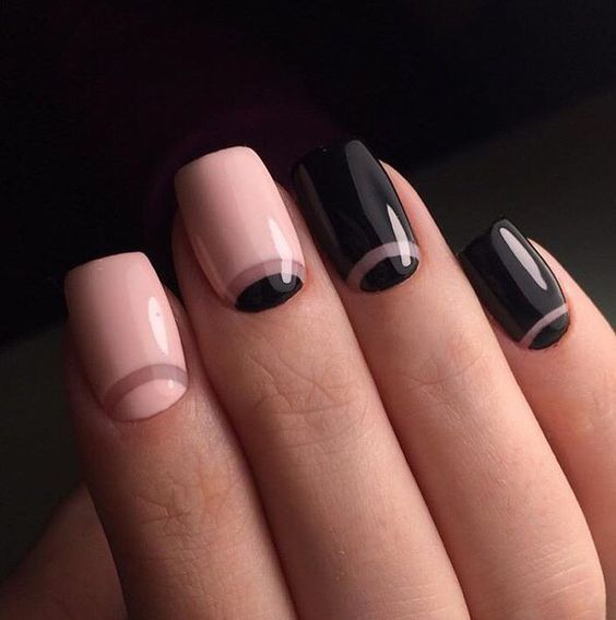 pink and black half moon nails mixed