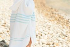 17 striped hooden beach poncho can double as a towel, you don't need to carry much