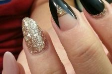 18 blush, black and gold glitter nails with geometric designs