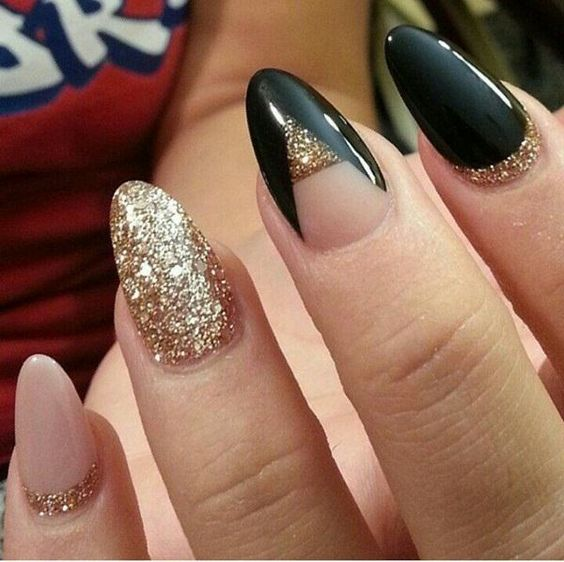 blush, black and gold glitter nails with geometric designs