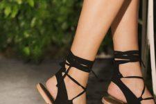 18 comfy boho-inspired black suede lace up flat sandals