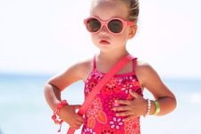 18 hot pink floral pattern swimsuit with spaghetti straps
