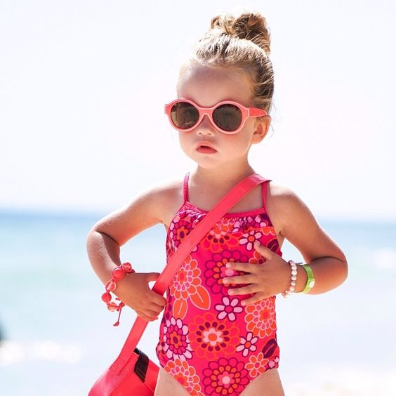hot pink floral pattern swimsuit with spaghetti straps